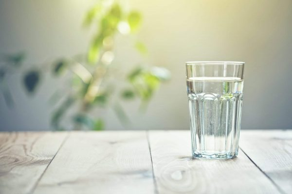 Glass of pure water on sunlight background with natural plant