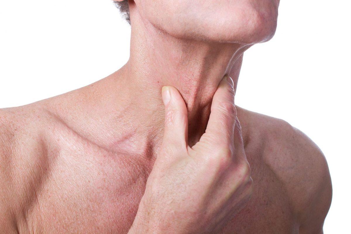 Senior,Man,With,Throat,Or,Neck,Irritation